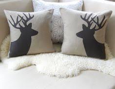Deer Head Pair Decorative Pillow Covers Stag Silhouette Applique Sandstone Espresso