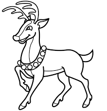 Reindeer Coloring Pages Wearing Necklace