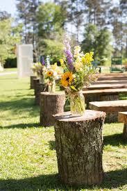 Rustic Country Walkways Aisle Decor Tree Stump Wedding