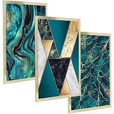 postergaleria 3er set design poster 30x40cm mit gold bilderrahmen grün schwarz weiß und gold schimmernder marmor bilder für küche büro