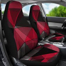 100 Car Seat In Truck PolygonalBlackRed CoversAuto CoversSUV Covers Covers Set Of 2