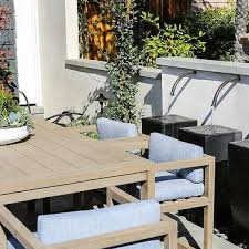 Blue And Gray Outdoor Dining Chairs With Teak Table