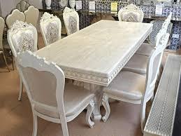essgarnitur barock komplett tisch 8 stühle weiss esszimmer neu