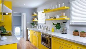 Modern Kitchen Design In Bright Yellow Color Accentuated By Green Leaves