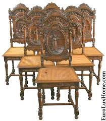Antique French Brittany Chairs British Colonial Dining Set Room Furniture Style