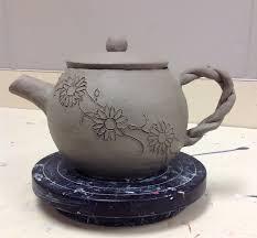 Hand Built Ceramic Tea Pot Still Drying High School Ceramics Class