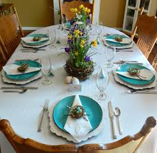 Colorful Table Setting For Spring With Birds Nest Garden Centerpieces