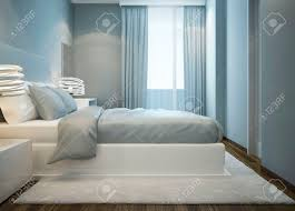 snowy weißen bett in blau schlafzimmer master schlafzimmer mit doppelbett mit weichen matratze weiße wollteppich 3d übertragen