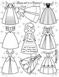 Colouring page Princess Paper Dolls