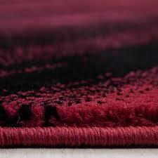 modern designer teppich wohnzimmer abstrakt wellen optik schwarz rot meliert