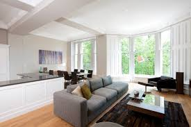 KitchenBright Kitchen In Living Room With Microfiber Sofa Also Bay Windows Bright