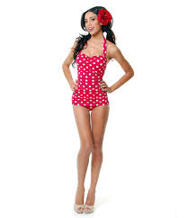 vintage inspired swimsuit 50 u0027s style pin up red with white polka