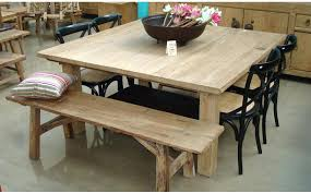Rustic Round Dining Room Sets Set With Bench Table For 8 Interior