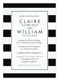 Simple Black White Striped Wedding Invitations