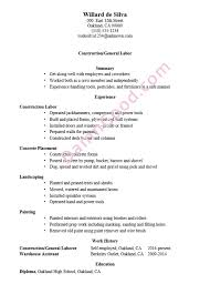 Construction Resume Sample New General Skills Examples Labor Of