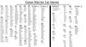 cat names canon warrior cat names by momma ran on deviantart