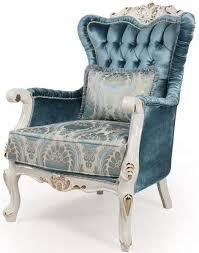 casa padrino luxus barock wohnzimmer sessel mit kissen blau weiß gold 87 x 76 x h 115 cm barock möbel edel prunkvoll