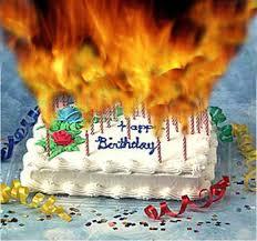 Birthday cake fire hazard to many candles