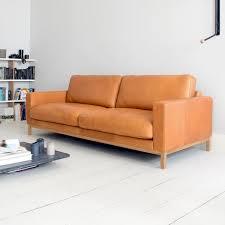 sit with us ledersofa tom 3 sitzer gestell aus eichenholz leder pur hellbraun
