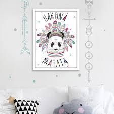 stickers panda chambre bébé cadre déco panda hakuna matata