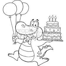 Royalty Free black white alligator holding birthday cake vector clip art image EPS SVG PDF illustration
