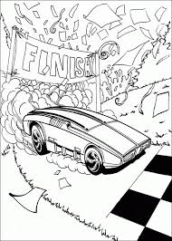 Finish Racing Coloring Pages Hot Wheels