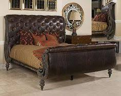 American Drew Bob Mackey Classics mahogany and leather sleigh bed