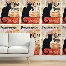 tapete katze französisch vintage schwarz gemalt kunst rustikal katzenhaft le chat noir bohemien katzenartig jahrgang