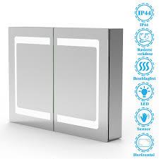 led spiegelschrank ivano 80x60cm mit steckdose sensor schalter aluminium doppelseitiger spiegel
