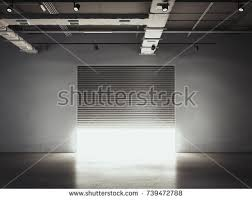 Opening Door To The Garage Storage Facility With Bright Light 3d Rendering