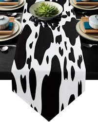 schwarz weiß graffiti kuh spot tischläufer home küche dekorative tisch läufer für hochzeit kuchen floral tischdecke