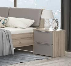 nachtkonsole nachttisch schlafzimmer bianco eiche basalt grau 50cm