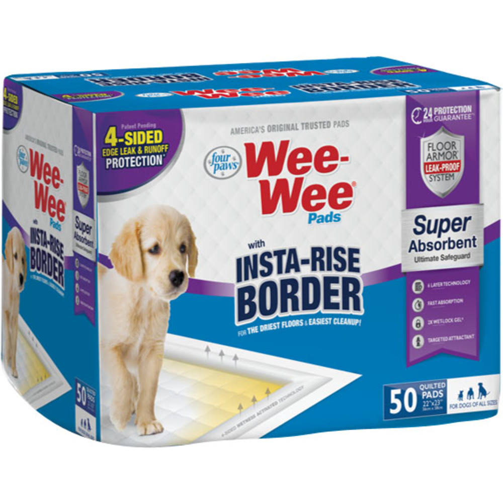 Four Paws Wee Wee Insta Rise Border Pad - 50ct
