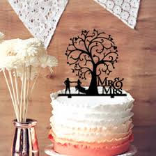 Mr Mrs Wedding Anniversary Cake Topper Rustic Bride And Groom With Blossom Tree