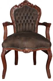 casa padrino barock esszimmer stuhl mit armlehnen braun braun lederoptik möbel