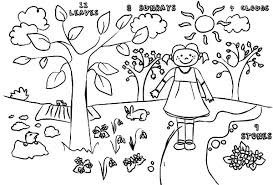 Spring Kids Drawing Of Springtime Coloring Page