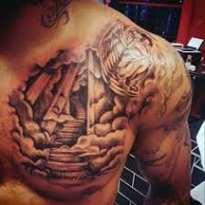 Sun And Clouds Tattoo For Men On Upper Chest