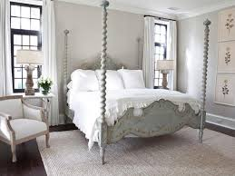 Bedroom Trendy French Country Bedrooms Decoration Ideas With Vintage Wooden Canopy Bed Frame Also White Bedding Sets Plus Cozy Armchair And Glass Flower