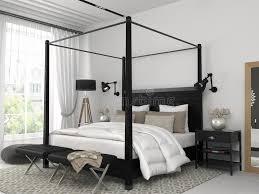 chambre avec lit noir chambre à coucher blanche avec le lit noir image stock image du