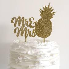 Mr Mrs Pineapple Gold Glitter Wedding Cake Topper