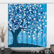 Cherry Blossom Curtain Blue by Blue Abstract Trees White Flower Painting Shower Curtain Custom