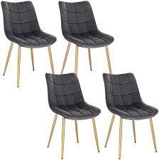 eugad 4x esszimmerstühle 4er set küchenstuhl polsterstuhl wohnzimmerstuhl sessel mit rückenlehne samt sitzfläche gold beine 0671by 4 grau