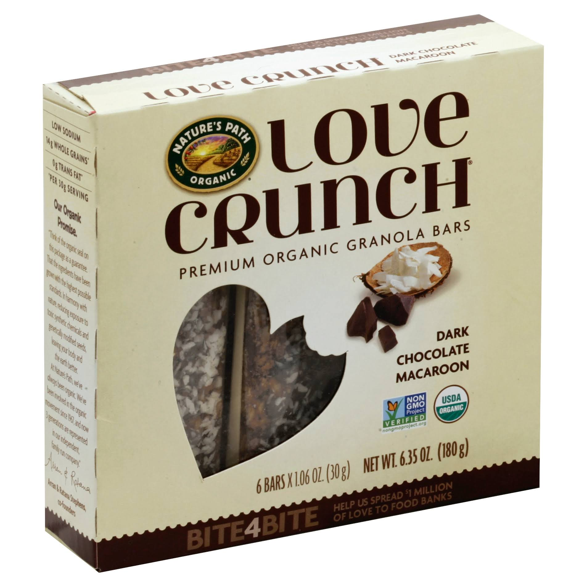 Natures Path Love Crunch Granola Bars, Dark Chocolate Macaroon - 6 pack, 1.06 oz bars