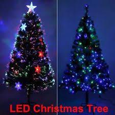 7ft Christmas Tree Fiber Optic Pre Lit Xmas With LED Lights Decor