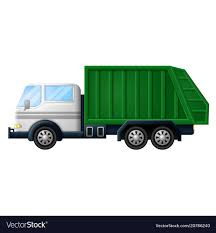 Rubbish Truck On White Background Royalty Free Vector Image