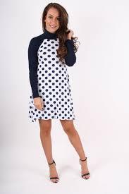 nancy navy u0026 white polka dot turtle neck long sleeved swing dress