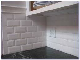 beveled white subway tile with gray grout tiles home design