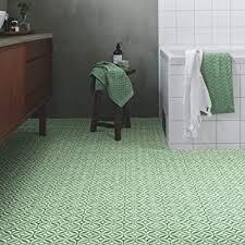 bodenbelag aus zementflieseneffekt vinyl smaragdgrün gepolstert für küche und badezimmer 2 und 3 m breit verschiedene größen erhältlich grün