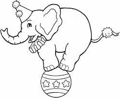 Circus Coloring Pages Elephant On Ball