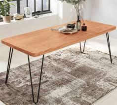 wohnling esstisch bagli massivholz akazie 200 x 76 x 80 cm esszimmer tisch küchentisch modern landhaus stil holztisch mit metallbeinen dunkel braun